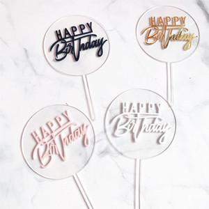 Nova Feliz Aniversário Acrílico Bolo Topper Gold Circle Double Layer Cupcake Topper para o partido do bolo de aniversário Decorações Baby Shower