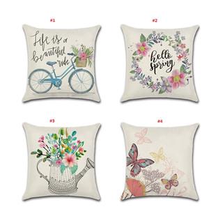 Primavera Fronhas 18x18 polegadas flor e bicicleta Primavera Detalhes no Farmhouse Lance fronha de algodão Linho Caso Almofada para decoração Home