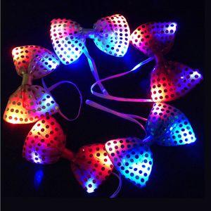 Мигающий свет Лук Галстук LED подсветкой пришивания Боути Свадьба Glow Bowknot Хэллоуин Рождество украшения партии товары DBC BH2696