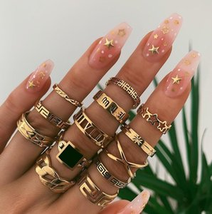 13PCS / Set Vintage Knuckle Set Carving lettere Stelle Anelli quadrato nero in lega di Geometria Twine dito mano Suit Anello dei monili delle donne di accessori