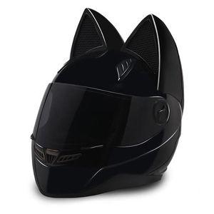 NTS-003 NITRINOS Marca moto casco integrale con la dimensione orecchie di gatto di personalità del gatto Fashion Helmet casco della motocicletta M / L / XL / XXL
