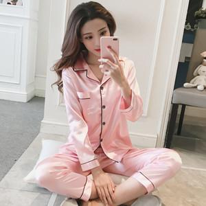 Женская шелковая атласная пижама Пижамный комплект Осень Пижамы Пижамный костюм Женский пижамный топ с длинным рукавом + брюки 2 шт. Наборы пижамные FemmeMX190822