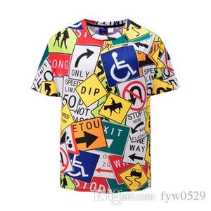 pano 2019 Padrões de Traffic Sign 3D T Shirt Men manga curta O pescoço Verão Tops Casual Camiseta Homme Casual Hip Hop T-shirts