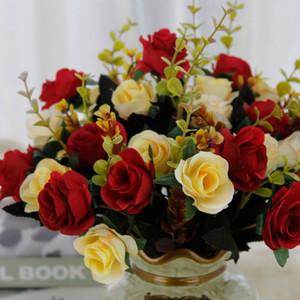 인공 꽃 꽃다발 유럽 스타일의 홈 결혼식 장식 장미 (12) 인공 가짜 꽃 실크 천으로 DHL 운송 XD22736