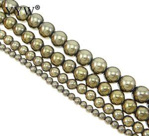 أعلى جودة 2/3/4/6/8/10/12 ملليمتر جولة الذهبي البيريت الخرز لصنع المجوهرات السلس الطبيعي جوهرة ستون الكرة الخرزة السواحل 15.5 بوصة