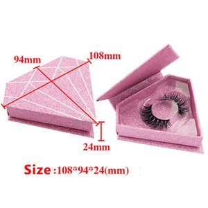 10 PCS Logo personalizado del brillo de empaquetado 3D Mink Pestañas Luxry Caja DE PESTAÑAS tipo de forma de diamante redondo Caja de empaquetado etiqueta privada