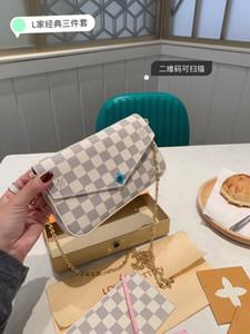 Новый 3 шт. Набор классические модные женские дизайнерские сумки натуральная натуральная кожа лазерное оборудование crossbody плечо цепи сумки кошелек карты сумка
