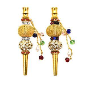 Due Stypes fatti a mano in metallo narghilè Bocchino bocca Punte Del Pendente Arabo Shisha animale a forma di cranio Filtro intarsiato gioielli diamante tubo di fumo per