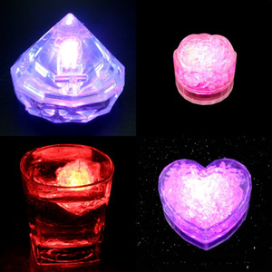 Love Heart Shape Flashing Ice Cube LED Light Rose Shapes Luminoso brillante Ices Block Colorido Festival Decoración 1 65px L1