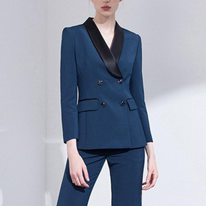 Çift Breasted Kadınlar Akşam Pant Suit Slim Fit Siyah Şal Yaka Kadın İş Takımları Smokin Blazer İçin Düğün (Ceket + Pantolon)
