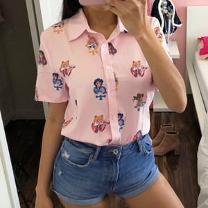 Gagarich Sailor Moon Rosa Kurzarmhemden Harajuku-T-Shirt Frauen-Kleidung 2019 Cosplay nette Kawaii Tops T200331
