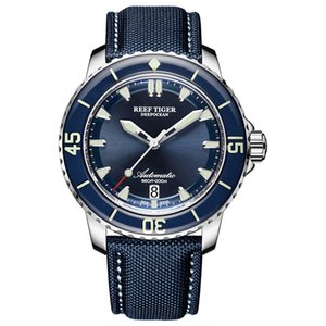Reef Tiger / rt Super Luminous Dive Mens Blue Dial Analógico Automático Relojes Correa de nylon Reloj Hombre 2018 Rga3035 C19041101
