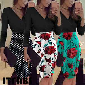 Fashion Women Casual Floral Skirt Long Sleeve Bodycon Midi Skirt Lady Evening Party Pencil Skrits