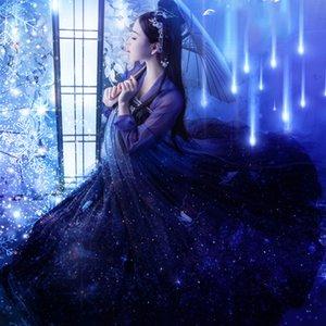 Hanfu Vestidos Mulheres Starry Sky Hanfu antiga chinesa Tang Dynasty Vintage Fairy Princess traje roupa para Lady DL5339