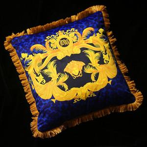 50cm*50cm Luxury Blue Brand V Pillows Covers European Royal Baroque Velvet Thicken Tassel Cushion Case Creative Brand Home Cojines