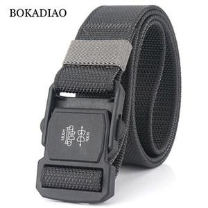 BOKADIAO Alergia plástico prevenção fivela Belts tático para combate Army Men Nylon Outdoor Training Cintura lona cinta masculina