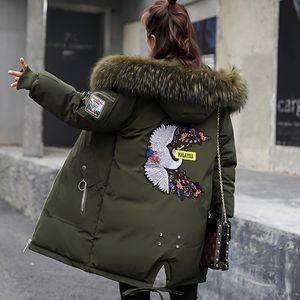 2018 зимняя куртка женская меховая куртка с капюшоном с вышивкой хлопок мягкая зимняя куртка женская теплая сгущает Jaqueta Feminina