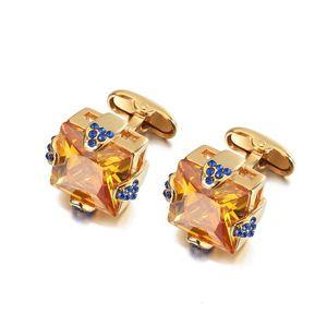 JIN&JU Gold Color Cufflinks Blue Crystal Shirt Cuff links For Mens Suits Shirt High Quality Cuff Cufflinks Wedding