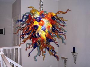 Colorido Murano Vidro Chihuly Chandelier Sala Decor Mão fundida de vidro LED Blubs Lâmpadas Pingente Venda