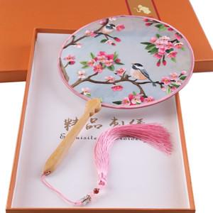 الشهيرة الثقافة الصينية الحرير اليدوية سوتشو التطريز مروحة مزدوجة من جانب والتطريز الزهور فان سلسلة مع علبة هدية متعدد الألوان