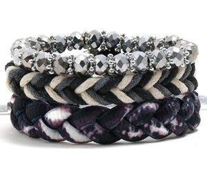 Men's woman bracelet DIY purple crystal Braid wax rope Beading Men's Combination suit Bracelet 3styles 1set