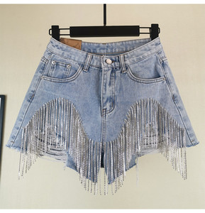 2019 Summer Fashion Wide Leg Frauen Schwere Strass Fransen Loch-Jeans Shorts Female High Waist Jeans-Shorts