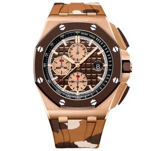 mens relojes VK cronografía movimiento de cuarzo para hombre de la serie Royal Oak Mens del reloj de la correa de goma 15400 deporte relojes orologio di Lusso