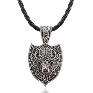 Viking Men Odin Raven Slavic Amulet Sword Axe Helmet Pendant Necklace Vintage Gold Sliver Color Round Necklaces Jewelry Gift