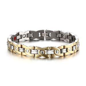 Mprainbow pulseras Hombres de acero inoxidable pulsera magnética Terapia Hombres 4 en 1 Double Strength Pulsera herramienta de la joyería de moda