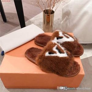 Visone Donne ultima Pantofole con pelliccia, Soft Suite piatto Mules Dreamy Pantofole per le donne Brown Homey scarpe, con formato della scatola 35-42