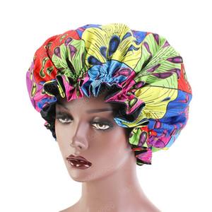 Motivo Turbante Bonnet notte di sonno raso di seta Cap africano Ankara Stampa Bonnet Large Size Hat Cura dei capelli