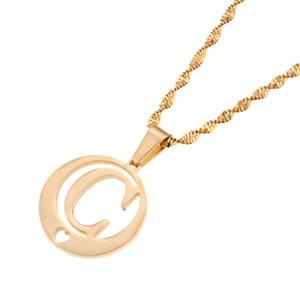 الفولاذ المقاوم للصدأ جولة حرف مجوهرات الأبجدية رسائل قلادة قلادة الأولية (C)