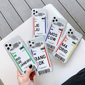 핫 에어 티켓 편지시 라벨 바코드 전화 케이스 아이폰 (11) 프로 X가 MAX XR X 6의 7 8 플러스 안티 노크 TPU 클리어 부드러운 실리콘 커버를 인