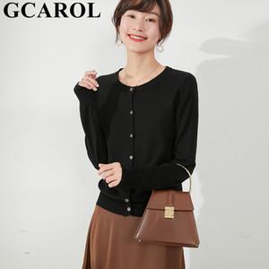 GCAROL 2020 Primavera Mulheres O Neck 30% lã fina Cardigan minimalista elegante doce jaqueta de malha macia respirável camisola Básico