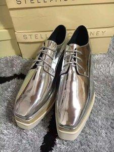 Топ Stella Mccartney Metallic Elyse Stars Shoes серебристая лакированная кожа с белой подошвой низкий верх