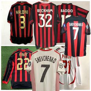 Retrò classico 1991 1996 2000 01 02 03 04 2006 2007 camicia di calcio INZAGHI PIRLO MALDINI KAKA SHEVCHENKO AC 09/10 Retro Milan soccer jerseys