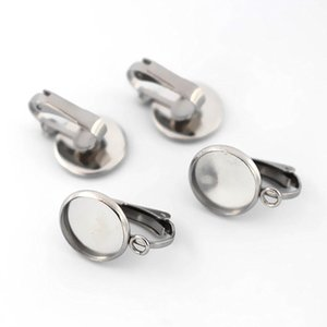 귀걸이에 스테인레스 스틸 클립 루프 커넥터 유리로 기본 라운드 베젤 Cameo Cabochon 비 피어싱 클립 귀걸이 DIY 결과