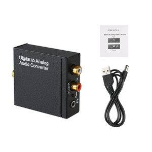 Digital to Analog Audio Converter-Toslink and SPDIF Coaxial Inputs to AUX 3.5mm Jack and Analog RCA L R Support Earphone Output
