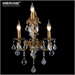 100% Guarantee Modern Crystal Wall Light Brass color Wall Sconces Lamp Bronze Wall Brackets Light for bedroom living room Fast Shipping