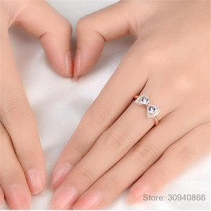 Bow knot Anniversary Cubic Zirconia Rings 925 Sterling Silver Rings for Women Silver 925 Jewelry Fine Jewelry