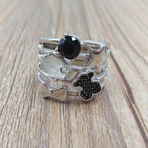 Медведь ювелирных изделий стерлингового серебра 925 кольца серебро Присоединяйтесь кольцо с драгоценными камнями Подходит для европейского типа ювелирных изделий подарка C512795540