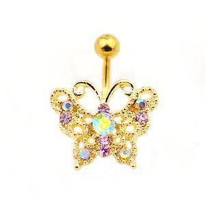 D0685 (стили смешивания) Золотой цвет Ницца Стиль Butterfly Belly Кольцо с Пирсингом Кузов Ювелирных изделий Пуль