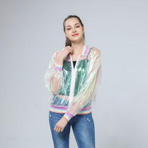 Casacos de Jacket Mulheres Harajuku Mulheres Verão Jacket arco-íris Symphony Holograma Bomber Transparente Jacket sunproof Drop Shipping