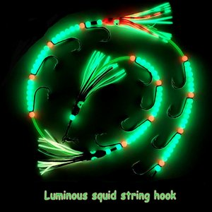 1pc / 2pcs Bionic colorido Luminous Ribbonfish Octopus Squid Steel Wire Cordas Rig Gancho de pesca por água salgada Fishing Lure Bait