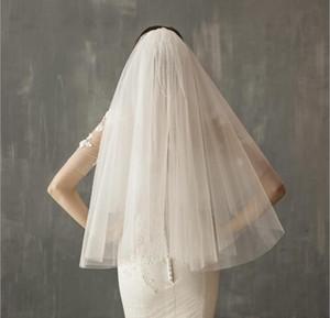 Короткие свадебные Невеста Veil сшитое белого цвета слоновой кости Два слоя тюля Comb Вейл аксессуары Hat Veil Фата