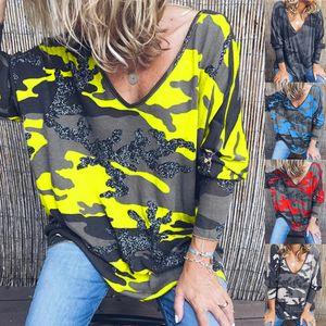 Womens Deisgner Long Sleeve T Shirts Fashion Casual Women Printed T Shirt V Neck Hoodie 6 Colors Asian Size S-5XL PH-YF202183 0