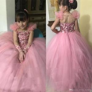 Rosa Ballkleid Kleinkind Mädchen Pageant Kleider für Jugendliche 2020 Günstige Long Sleeves Perlen Günstige Little Kids Blumenmädchenkleider für Hochzeiten