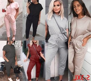 Solid Color Womens Designer Tracksuits Casual Crew Neck Loose Two Piece Pants Short Sleeve Summer Sets