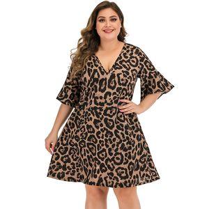 Plus Size Leopard Mulheres Vestidos Moda V-pescoço curto luva frouxo Ladies Casual Vestidos Designer roupas femininas