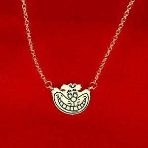 Alicia en el país de las maravillas Cheshire cat Necklace Gold smile face colgantes para mujeres niños joyería de moda regalo de Navidad